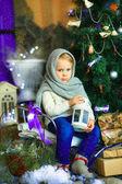 The girl near a Christmas fir-tree 9 — Stock Photo