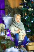 The girl near a Christmas fir-tree 10 — Stock Photo