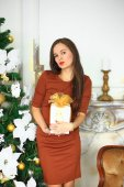 The girl in a brown dress with a Christmas gift 2 — Stock Photo