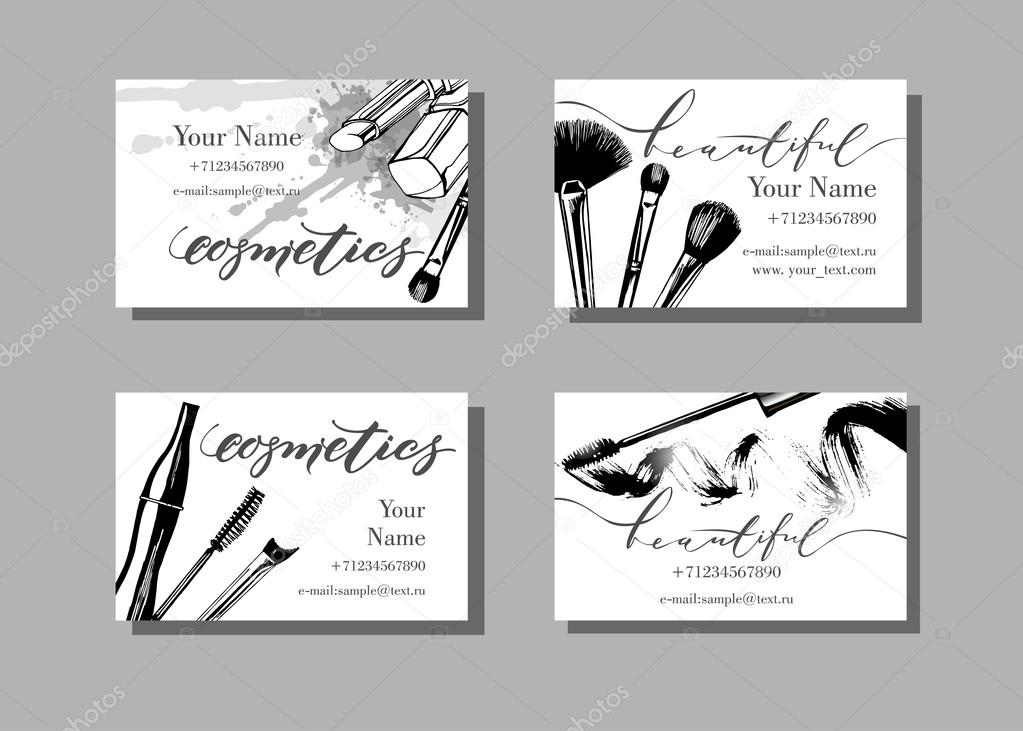 Makeup artist business card. Vector template with makeup ...