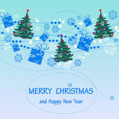Christmas and New Year background with the words   Merry Christmas and a happy new year — Stock Vector