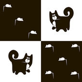 Black cat and white mouse 3x5 — Stock Vector