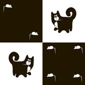 Black cat and white mouse 2x4 — Stock Vector