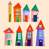 Set of cute houses — Stock Vector
