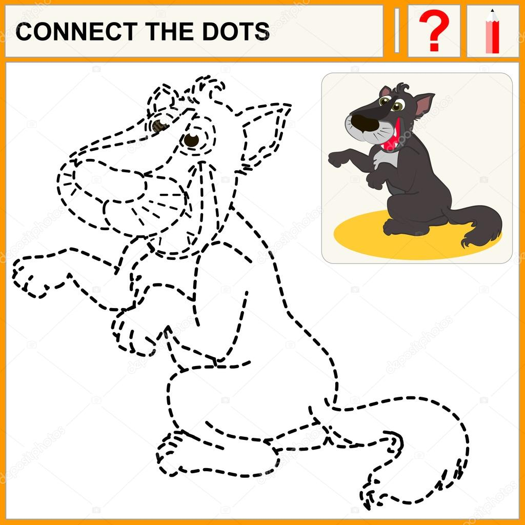 Connect the dots, preschool exercise task for children, of cute ...