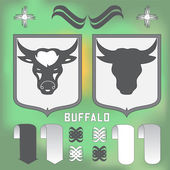 Buffalo head on the blurred background-vector illustration — Stock Vector
