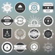 Vector set: vintage fathers day labels and icons on the blurred  — Stock Vector #73536771