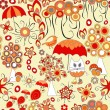 Vector seamless pattern with flower,cat, snail and umbrella, car — Stock Vector #78359570
