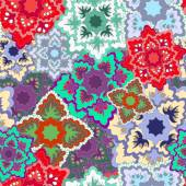 Vector seamless texture with slavs flower. russia seamless patte — Stockvector
