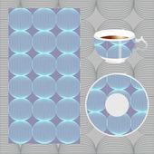 Vector seamless circle pattern with cup and plate. geometric sha — Stock Vector