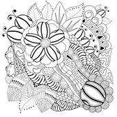 Stock vector floral black and white doodle pattern — Stock Vector