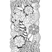 Stock vector floral black and white doodle pattern. border — Stock Vector