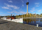 Moored boat in Tampere, Finland — Foto Stock