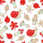 Autumn seamless pattern with mushrooms, snails and leaves — Stock Vector