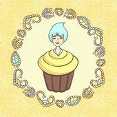 Yummy Cupcake Girl with hearts — Stock Vector