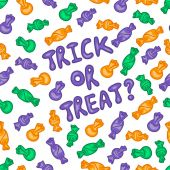 Halloween vector pattern 'Trick or Treat with candies' — Vector de stock