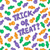 Halloween vector pattern 'Trick or Treat with candies' — Stok Vektör