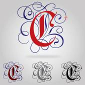 Decorated uppercase Gothic font - Letter C — Vector de stock