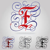 Decorated uppercase Gothic font - Letter F — Stock Vector