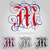 Decorated uppercase Gothic font - Letter M — Stock Vector