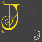 Music style English alphabets - Letter J — Stock Vector