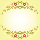Oriental design of gold leaf and flowers — Stock Vector