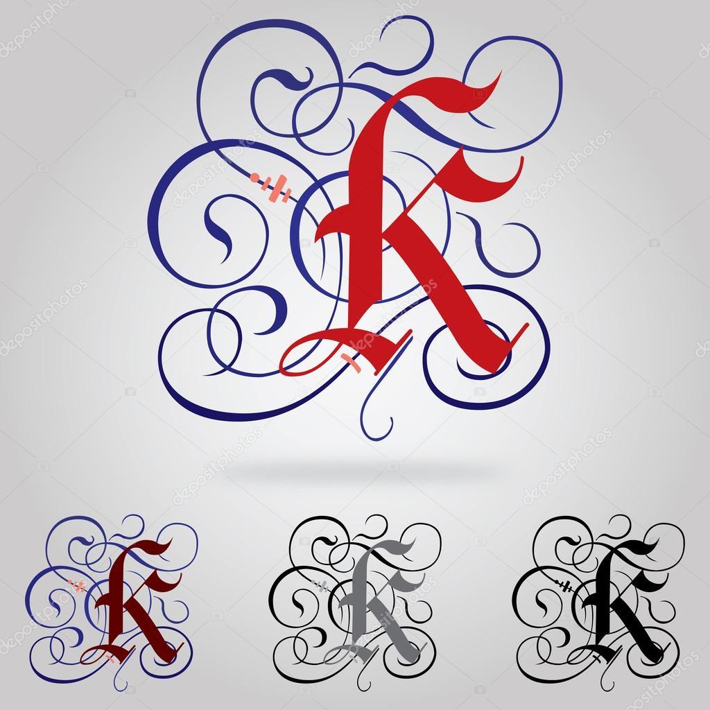 D cor en majuscules gothique police lettre k image vectorielle 54075643 - K en majuscule ...