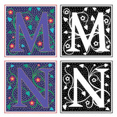 English alphabets with flowers and plant leaves, Letter M and N — Stock Vector