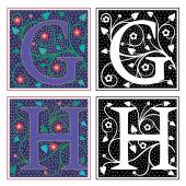 English alphabets with flowers and plant leaves, Letter G and H — Stock Vector