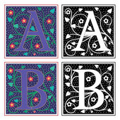 English alphabets with flowers and plant leaves, Letter A and B — Stock Vector