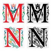 Beautiful decoration English alphabets, letter M and N — Stock Vector