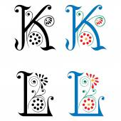 Spring style, basic decoration English alphabets, letter K and L — Stock Vector
