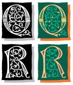 Medieval style English alphabet letters, Q and R, mono and color — Stock Vector