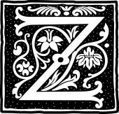 English alphabet with flowers decoration, monochrome letter Z — Stock Vector