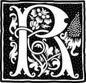 英语字母表的花朵装饰,单色字母 r — 图库矢量图片