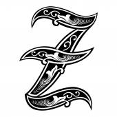 Beautiful decoration English alphabets, Gothic style, letter Z — Stock Vector