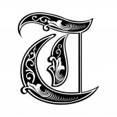 Beautiful decoration English alphabets, Gothic style, letter T — Stock Vector