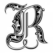 Beautiful decoration English alphabets, Gothic style, letter R — Stock Vector