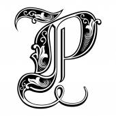 Beautiful decoration English alphabets, Gothic style, letter P — Stock Vector