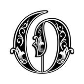 Beautiful decoration English alphabets, Gothic style, letter O — Stock Vector