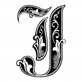 Beautiful decoration English alphabets, Gothic style, letter J — Stock Vector