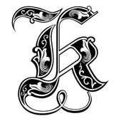 Beautiful decoration English alphabets, Gothic style, letter K — Stock Vector