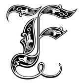 Beautiful decoration English alphabets, Gothic style, letter F — Stock Vector