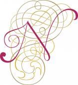 Kaligrafické anglické abecedy, módní a stylové písmeno n — Stock vektor