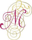 Alfabeto inglés caligráfico, moda y con estilo de letra m — Vector de stock