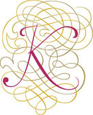 Calligraphic English alphabets, fashionable and stylish letter K — Stock Vector