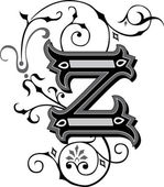 Beautifully decorated English alphabets, letter Z — Stock Vector