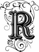 Beautifully decorated English alphabets, letter R — Stock Vector