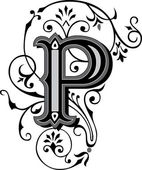 Beautifully decorated English alphabets, letter P — Stock Vector