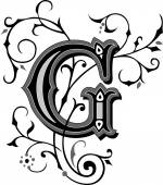 Beautifully decorated English alphabets, letter G — Stock Vector